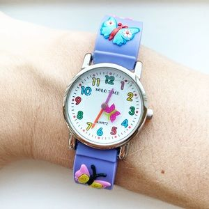 Vintage purple & colorful butterfly Girls' watch